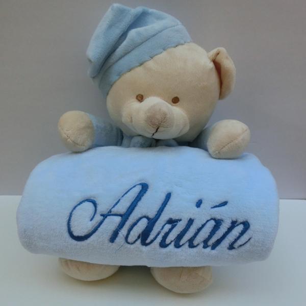 color azul Manta para beb/é con dise/ño de oso de peluche